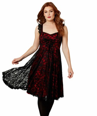 Joe Browns Womens Floral Lace Party Dress with Corset Laces Red 12