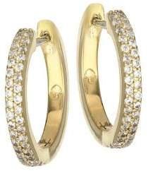 Kate Spade Save The Date Pave 12K Goldplated Huggie Hoop Earrings
