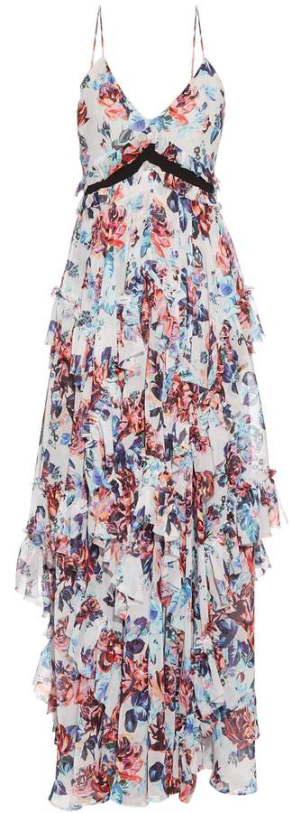 Mary Katrantzou Caliente Solar Rose-print ruffled silk dress