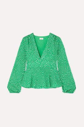 Rixo Kikki Ruffled Floral-print Crepe Top - Green