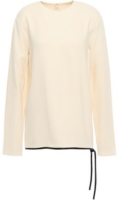 Victoria Beckham Leather-trimmed Knotted Crepe Blouse