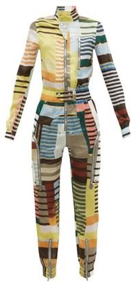 Rick Owens Ies Geometric-print Crepe Boiler Suit - Womens - Grey Multi
