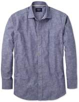 Charles Tyrwhitt Slim Fit Chambray Navy Textured Cotton Casual Shirt Single Cuff Size XXL