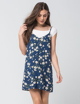 Full Tilt 2-Fer Rib Floral Womens Tee Dress