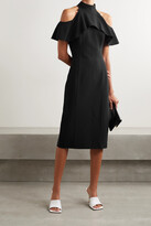 Thumbnail for your product : Michael Kors Collection Cold-shoulder Ruffled Stretch-wool Midi Dress - Black