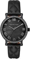 Michael Kors Women's Norie Black Leather Strap Watch 38mm MK2620