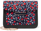 Vanessa Seward Camelia Printed Canvas And Leather Shoulder Bag - Midnight blue