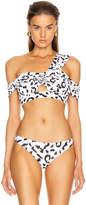 Self-Portrait Self Portrait Leopard Printed Draped Bikini Top in Ivory & Black | FWRD