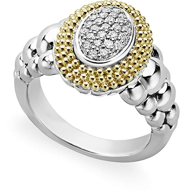 Lagos 18K Gold and Sterling Silver Diamond Lux Oval Ring