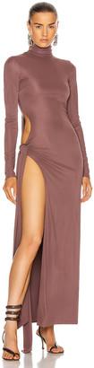 ATTICO Long Sleeve Ruched Midi Dress in Brown | FWRD
