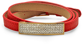 Red Leather & Simulated Diamond Bar Bracelet