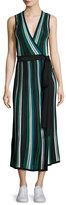 Diane von Furstenberg Cadenza Metallic Striped Sleeveless Wrap Dress