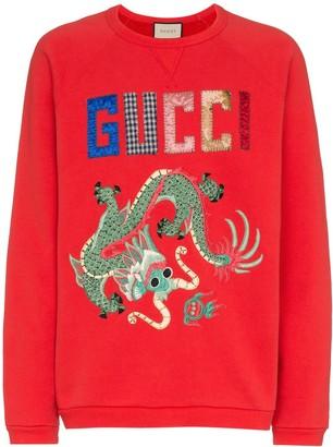 Gucci dragon patchwork cotton sweatshirt