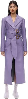 MATÉRIEL Double Belted Faux Leather Midi Coat