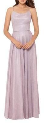 Betsy & Adam Sleeveless Glitter Gown