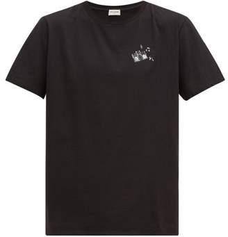 Saint Laurent Radio-print Cotton T-shirt - Mens - Black