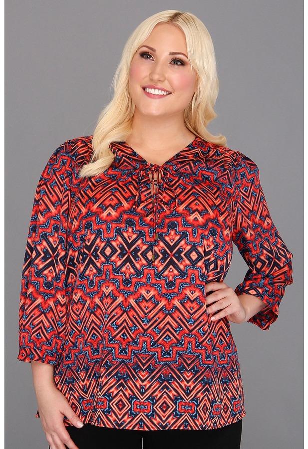Klein Plus Anne Plus Size Ikat Print Tie Blouse (Navy Multi) - Apparel