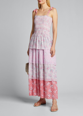 LoveShackFancy Caressa Smocked Floral Maxi Dress
