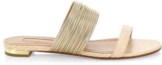 Aquazzura Rendez Vous Snakeskin-Embossed Leather Sandals