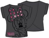 Disney Minnie Peeking , Youth Girls Fashion Top Open Back Charcoal Gray (Medium)