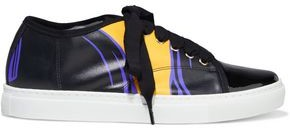 Lanvin Patent Leather-paneled Printed Smooth-leather Sneakers