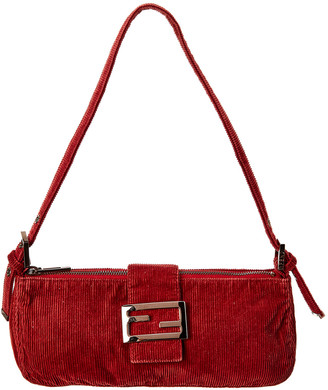 Fendi Burgundy Corduroy Shoulder Bag