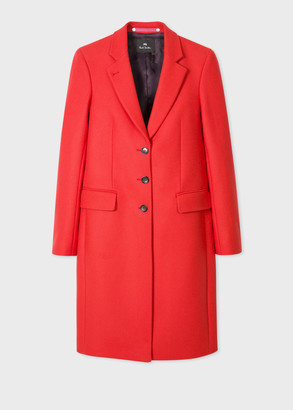 Paul Smith Women's Red Wool And Cashmere-Blend Three-Button Epsom Coat
