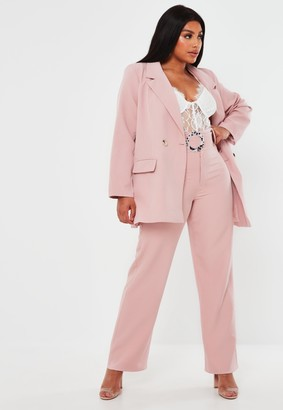 Missguided Plus Size Pink Co Ord Belted Straight Leg Trousers
