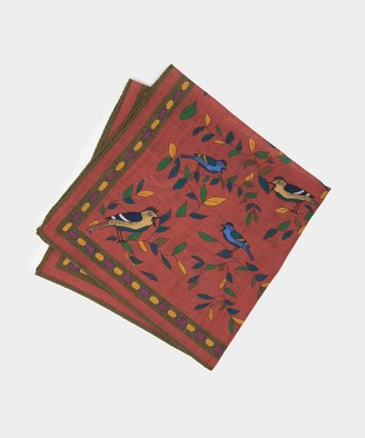 Drakes Bird Pocket Square in Dark Pink
