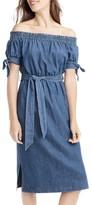 J.Crew Petite Women's Tie Waist Chambray Off The Shoulder Dress