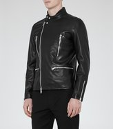 Reiss Rod - Leather Biker Jacket in Black, Mens