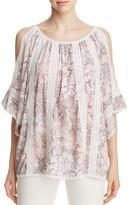 T Tahari Cambria Lace Trim Floral Cold-Shoulder Top