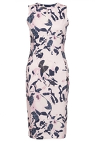 Quiz Pink And Navy Flower Print Keyhole Bodycon Dress