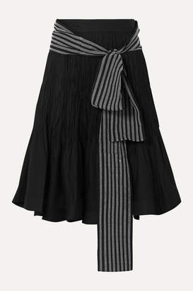 J.W.Anderson Belted Pleated Cotton-blend Midi Skirt - Black
