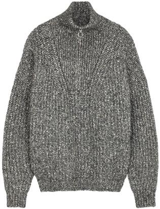 Etoile Isabel Marant Myclan grey half-zip cotton-blend jumper
