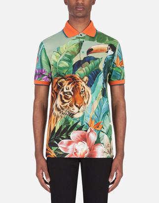 Dolce & Gabbana Cotton Polo Shirt With Jungle Print