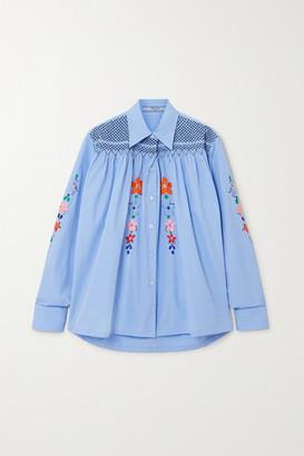 Prada Smocked Embroidered Cotton-poplin Blouse - Blue