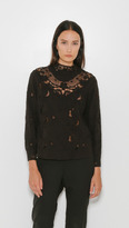 Sea Floral Lace Embroided Long Sleeve Top