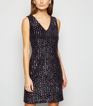 New Look Blue Vanilla Velvet Sequin Dress