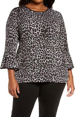 MICHAEL Michael Kors Cheetah Print Flounce Sleeve Top