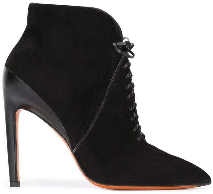 Santoni lace up pointed booties