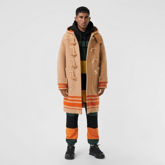 Burberry Striped Double-faced Wool Duffle Coat