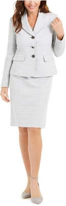 Le Suit Textured Metallic Skirt Suit