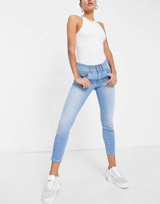Salsa Secret highrise body shaping slim jeans in light wash blue