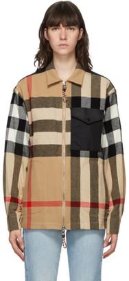 Burberry Beige Wool Check Hatcher Jacket