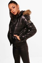 boohoo Maya Faux Fur Hood Bubble Coat
