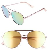 BP Women's Lucky Seven 55Mm Metal Aviator Sunglasses - Pink