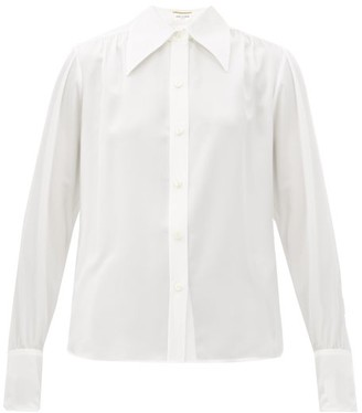 Saint Laurent Oversized-collar Silk-georgette Shirt - White