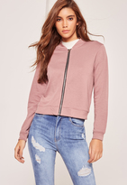 Missguided Petite Pink Jersey Bomber Jacket
