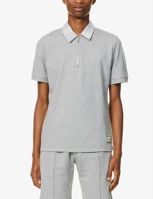 Prevu Patterned zip-up stretch-jersey polo shirt